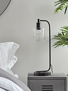 Made from metal with a stark black finish and simple frame, our industrial style desk lamp will add a stylish touch to your workspace or bedside. Each lamp features a clear glass shade and downward facing bulb fitting for a unique look. Table Lamps Uk, Table Lamps For Bedroom, Bedside Table Lamps, Ceramic Table Lamps, Desk Lamp, A Table, Bedside Lamps Luxury, Bedside Lighting, West Elm