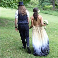 Dip-dyed wedding dress