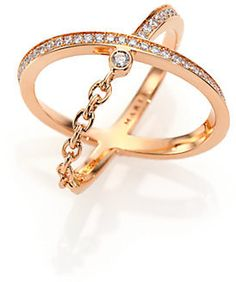 Marli Ransom Diamond & 18K Rose Gold Crisscross Ring