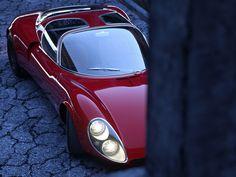Alfa Romeo Stradale study, design Scaglione at Bertone. —————————————— Scaglione parted Bertone since some years when he designed the Stradale. BTW, the cars were built by Marazzi. Lamborghini, Ferrari, Alfa Romeo, Porsche, Automobile, Sports Sedan, Car Posters, Car In The World, Automotive Design
