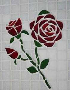Rosas em mosaico de pastilha de vidro