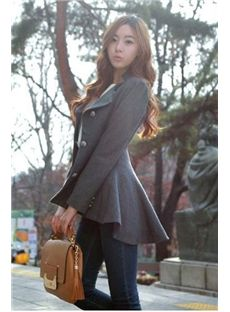 New Arrival Chic Gray Long Sleeve Overcoats