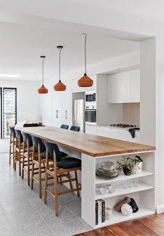 Long Kitchen, Open Plan Kitchen, Kitchen Corner, New Staircase, Long House, Kitchen Benches, Scandinavian Kitchen, Scandinavian Design, Box Houses