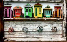 Functional Art Architectural Salvage Hanger.......Photographic Images....New Orleans Shotgun Houses...Faucet Handles