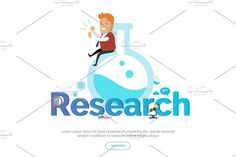 Research Conceptual Vector Banner in Flat Design. Human Icons