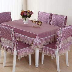Hot Sale square dining table cloth chair covers cushion tables and chairs bundle chair cover rustic lace cloth set tablecloths The building block of any table setting is the tblecloth. Which is why it's important to pick the right one for your home Purple Dining Chairs, Dining Table Cloth, Dining Room Table Chairs, Dining Chair Covers, Square Dining Tables, Dining Chair Slipcovers, Dining Table Design, Modern Dining Table, Furniture Covers