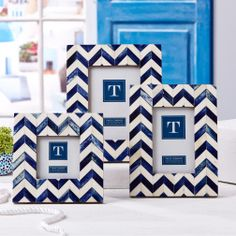Artemis Set of 3 Chevron Bone Inlay Photo Frames Includes 3 Sizes: x x x (stands horizontally and vertically) - Bone/MDF Material: BONE Dimensions: 7 Sq, 7 W x 9 H, 8 W x 10 H White Picture Frames, Picture Frame Sets, Bliss Home And Design, Two's Company, Blue Chevron, Unique Home Decor, Blue And White, Navy Blue