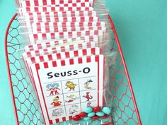 free printable: Dr. Seuss bingo game with candy markers...print 2 copies of the game cards to create a Memory Game. Party game + favor in one.