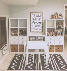 great idea for kids playroom using ikea kallax or expedit with desk and baskets! great idea for kids playroom using ikea kallax or expedit with desk and baskets! Playroom Design, Playroom Decor, Playroom Ideas, Kid Playroom, Modern Playroom, Wall Decor, Kid Decor, Trofast Ikea, Ikea Kallax Desk