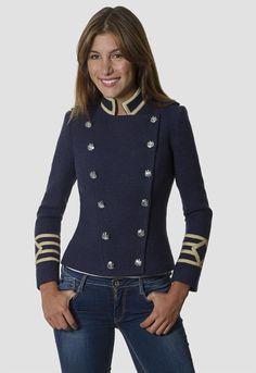 Abrigo militar mujer azul