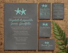 Country Starfish Beach Wedding Invitation Set/Suite, Invites, Save the date, RSVP, Thank You Cards, Response Cards, Printable/PDF/Printed by InvitationSnob on Etsy https://www.etsy.com/listing/193524461/country-starfish-beach-wedding