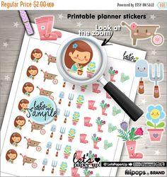 60%OFF - 60 PercentOFF - Garden Stickers, Printable Planner Stickers, Spring Stickers, Kawaii Stickers, Erin Condren, Flower Stickers, Plann