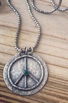 Sterling Peace Necklace, Peace Unisex Jewel, Peace Sign Symbol Pendant #peacenecklace #peacejewel