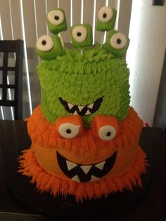 Monster Cake! Double Layer Two tier White Cake with Strawberry Buttercream.  www.facebook.com/cookiesbycarly
