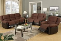 Recliner Set $875.00  This 3-piece recliner sofa set provides you with a multitude of opportunities to lounge comfortably with stylish home furnishing.