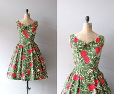 1950s dress / floral print 50s dress / Les Arts Florissants