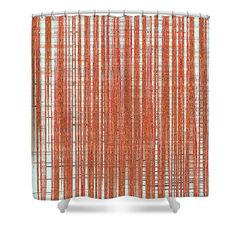 """Black Walnut Ink Drawing Abstract Shower Curtain by Tom Janca.  This shower curtain is made from 100% polyester fabric and includes 12 holes at the top of the curtain for simple hanging.  The total dimensions of the shower curtain are 71"""" wide x 74"""" tall."""