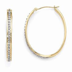 Leslies 14k Yellow Gold Twisted Oval 2mm x 30mm Hinged Hoop Earrings
