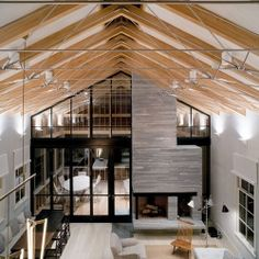 A mix of traditional barn and a modern building makes this home look amazing!