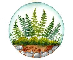 This is an original watercolor painting inspired by fern and moss gardens and terrariums.    TITLE: Round Paintings 119    -This is a hand-painted ,