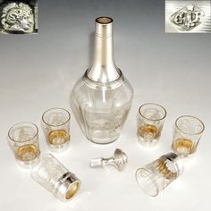French Sterling Silver Liquor Service, 7pc Cut Crystal Carafe Decanter & Set of Cups or Shot Glasses, Original Box #WineFlask