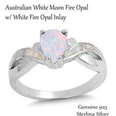 Australian White Fire Opal Tear / Drop / Pear Cut Celtic Infinity w/ White Fire Opal Inlay Genuine Sterling Silver Ring