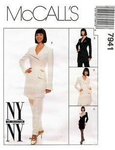 McCall's 7941 Dramatic Jacket or Dress & Pants 1995 Dress Pants, Peplum Dress, Ny Ny, Dress Images, Gold Dress, Nice Dresses, Sewing Patterns, Coat, Jackets