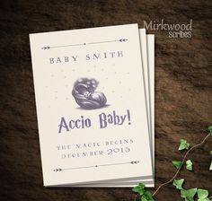Accio Baby!  Harry Potter Pregnancy Announcement |  Birth Announcement | First Birthday Party Invitation by MirkwoodScribes on Etsy https://www.etsy.com/listing/386524656/accio-baby-harry-potter-pregnancy #pregnancyfirstbaby