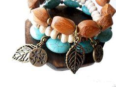 Boho Hippie bracelet set ~ wood, Turquoise stone and white Magnesite. Metal alloy charms.