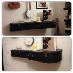 Old guitar case made into a shelf with L brackets, bolts, washers and nuts. #GuitarCase