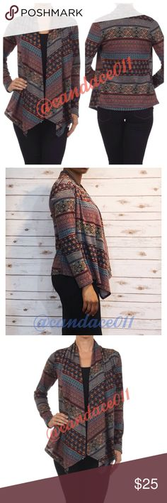 Geometric Print Open Front Cardigan (S-3X) ✳️Bundle to save 15%!✳️ 🔹Draped neck 🔹95% Polyester, 5% Spandex 🇺🇸Made in the USA🇺🇸 🔹Size Recommendations (U.S. Adult): S (2-4), M (6-8), L (10-12), XL (14-16), 2X (18-20), 3X (22-24) CC Boutique  Sweaters Cardigans