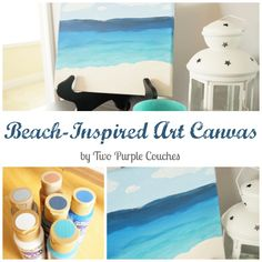 Love the beach? Make this beautiful beach-inspired art in minutes! Very easy DIY home decor idea that anyone can do.