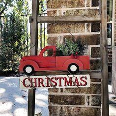 Red Christmas Truck Hanger
