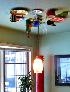 Dishes on the ceiling. How fun is that? Kitchen Wallpaper, Creative Decor, Track Lighting, Kitchens, Ceiling Lights, Dishes, Table, Fun, Ideas