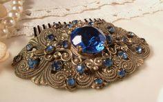 Victorian Sapphire / Cobalt Blue Rhinestone Antique Gold Filigree Bridal Hair Comb,