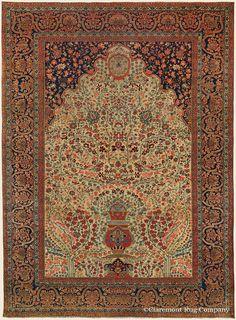 "MOTASHAM KASHAN ""Vase Carpet"", 7' 5"" x 10' 0"" — 3rd Quarter, 19th Century, Central Persian Antique Rug - Claremont Rug Company"