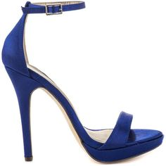 Michael Antonio Women's Lovina - Navy Satin ($50) ❤ liked on Polyvore featuring shoes, pumps, blue, navy blue pumps, high heel pumps, ankle strap pumps, platform pumps and high heel platform pumps