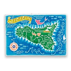 The Island of Sicily - this handmade and hand painted tile was made in the Amalfi coast. Love that blue! I've definitely seen ocean that color before - wish I was swimming in it today! Found at the Italian Pottery Outlet in Santa Barbara CA