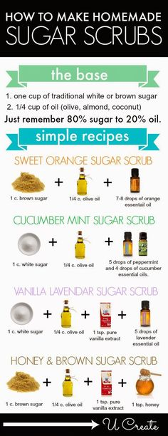 How To Make Homemade Sugar Scrubs - Simple, Easy DIY Recipes [Infographic]