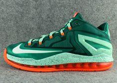 nice shoes b776a 2b6ec LeBron 11 Low Biscayne Bay Mystic Green White Medium Mint 642849 313 James  Shoes, Online
