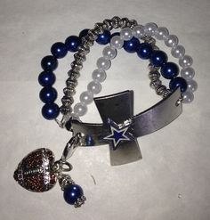 Dallas Cowboys  3 strand  Cross Bracelet by sassygirlsx3 on Etsy, $15.95