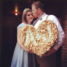 """""""you & me pinata"""" — great as a photo prop and useful for reception decor! (you know a wedding pinata is the best idea EVER! Handmade Wedding, Diy Wedding, Wedding Reception, Wedding Ideas, Wedding Pinata, Great Anniversary Gifts, Reception Decorations, Reception Games, Party Items"""