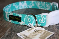 Dog Collar The Tiffany Damask  by ColeysCollars on Etsy, $16.95