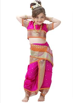 Pink and Green Art silk Kids Saree with Blouse