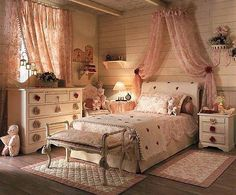 The design of the bedroom in the Provence style decoration features furniture, textiles - Part 3 Beautiful Bedrooms, Beautiful Interiors, Kids Bedroom, Bedroom Decor, Provence Style, Romantic Cottage, Bedroom Romantic, Shared Bedrooms, Shabby Chic Bedrooms