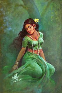 Oviyar Maruthi Indian Women Painting, Indian Art Paintings, Indian Artist, Ravivarma Paintings, Abstract Paintings, Sexy Painting, Woman Painting, Painting Art, Watercolor Painting