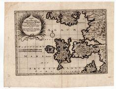 GREECE MAP OF CHIOS MERIAN 1629 SCIO