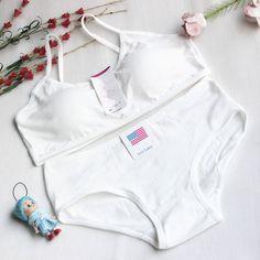 Young Girl Bra Student Underwear Set Solid Fasteners Bras for Girls Cotton Children's Bra Soft Bra+Pant Girls Underwear