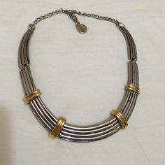 Silver and gold antiqued collar Cute, movable collar in silver with gold accents. Jewelry