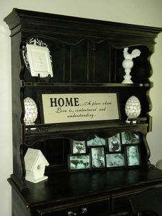 Black distressed hutch diy kitchen decor dining room furniture French country rooster finials